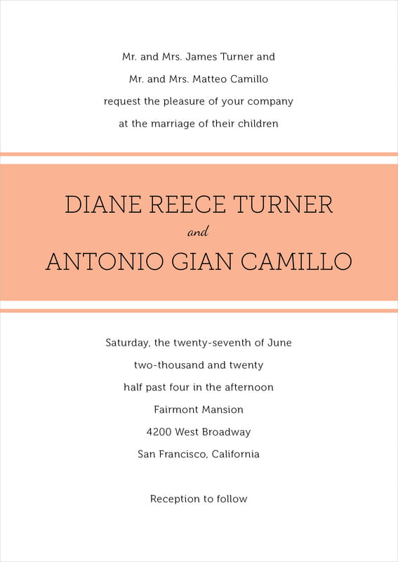 custom invitations - peach - modern museo (set of 10)