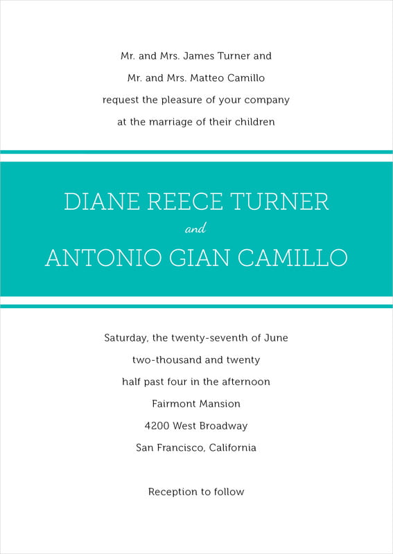 custom invitations - turquoise - modern museo (set of 10)