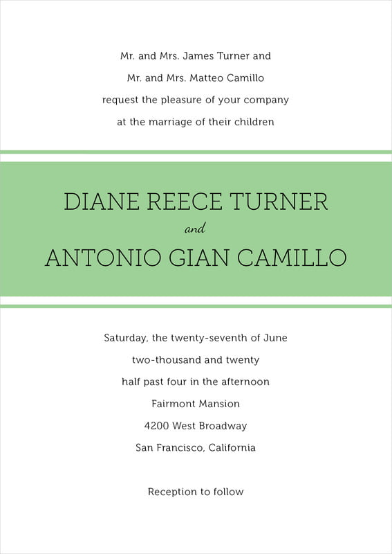 custom invitations - light green - modern museo (set of 10)