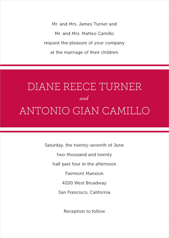 custom invitations - deep red - modern museo (set of 10)