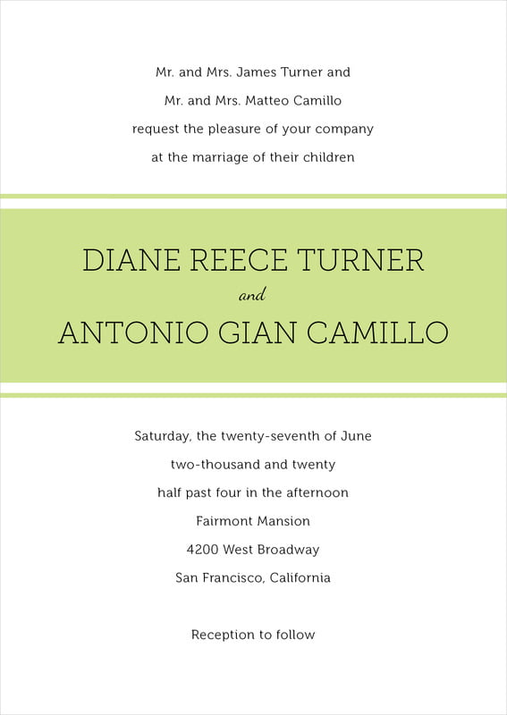 custom invitations - lime - modern museo (set of 10)