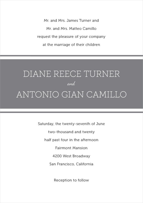 custom invitations - charcoal - modern museo (set of 10)