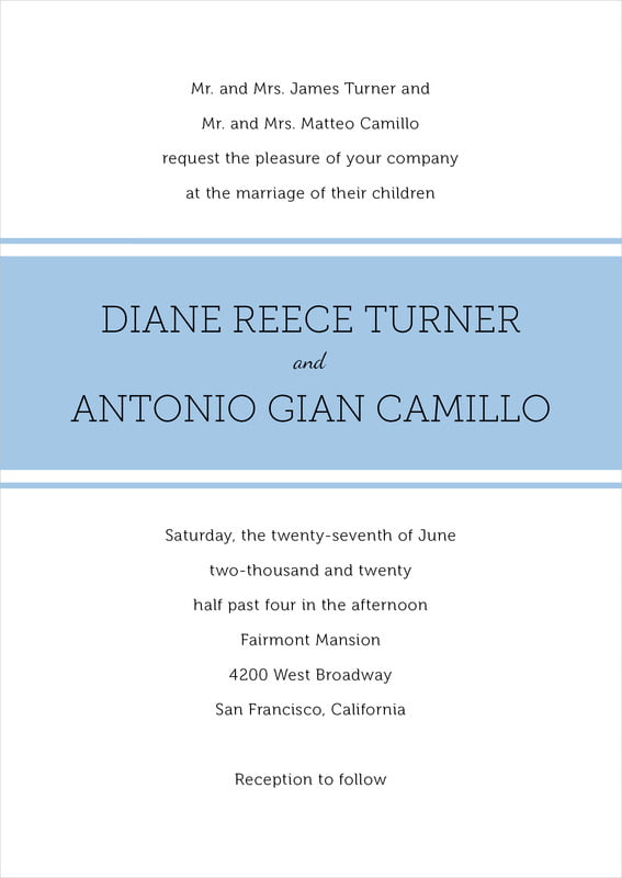 custom invitations - blue - modern museo (set of 10)