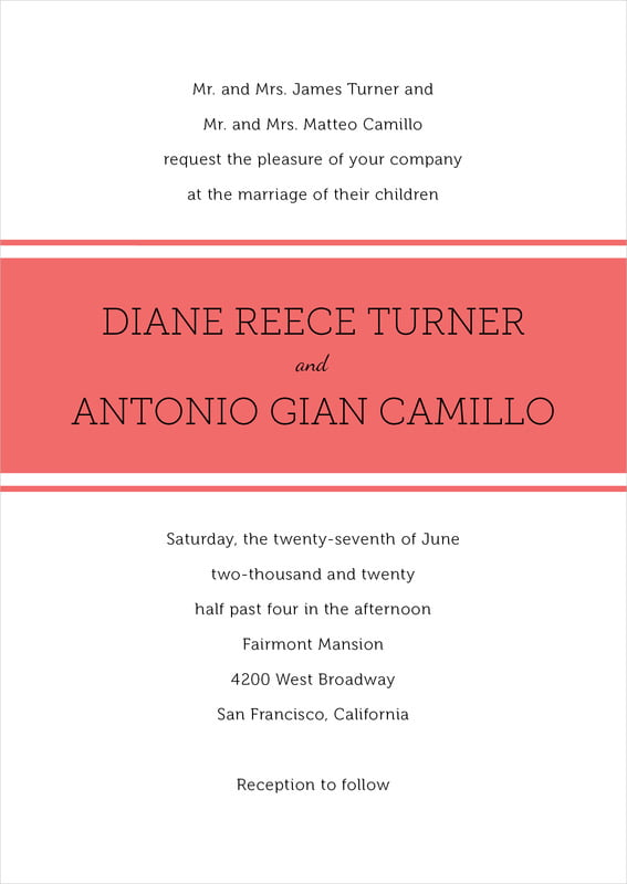 custom invitations - deep coral - modern museo (set of 10)