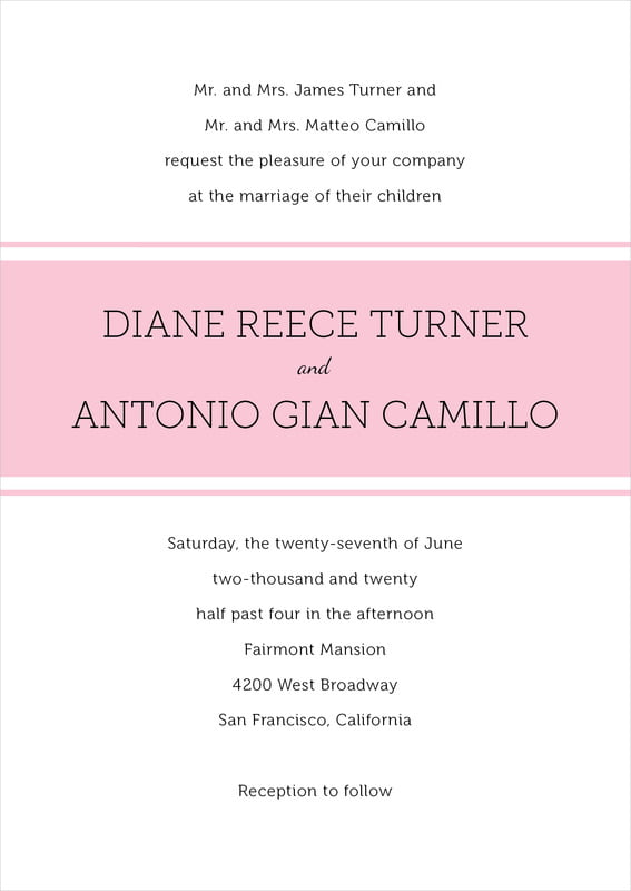 custom invitations - pink - modern museo (set of 10)