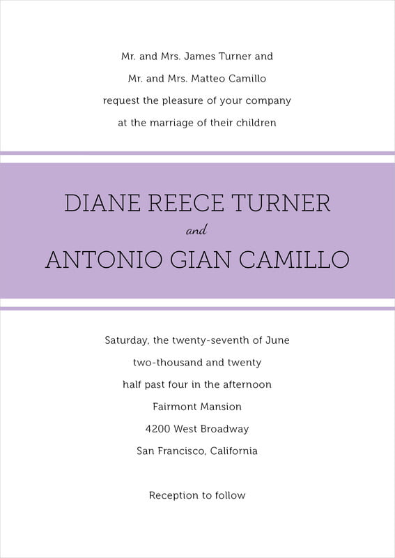 custom invitations - lilac - modern museo (set of 10)