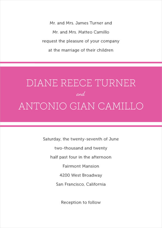 custom invitations - bright pink - modern museo (set of 10)