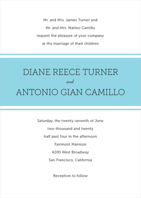 custom invitations - bahama blue - modern museo (set of 10)