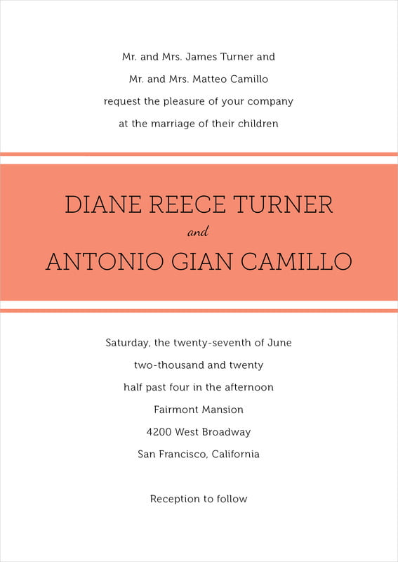 custom invitations - coral - modern museo (set of 10)