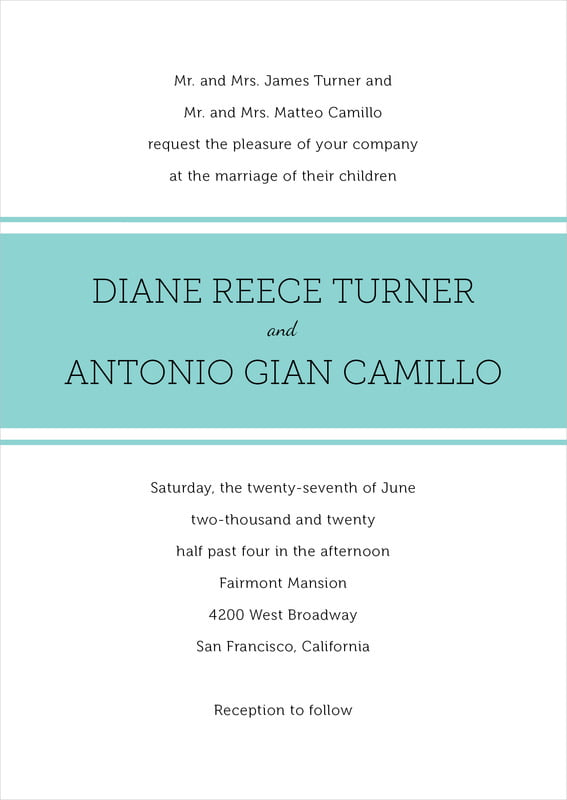 custom invitations - aruba - modern museo (set of 10)