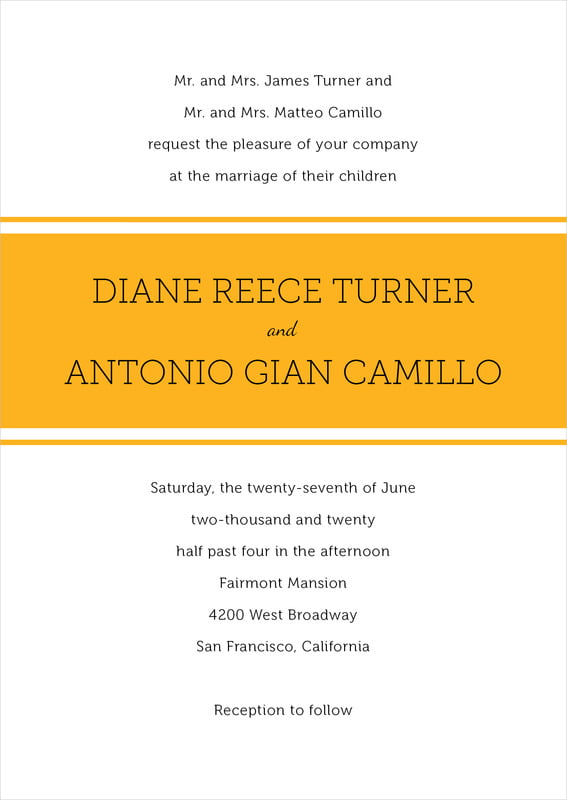 custom invitations - orange - modern museo (set of 10)
