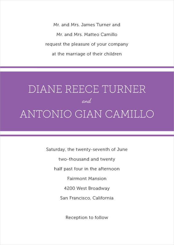 custom invitations - plum - modern museo (set of 10)