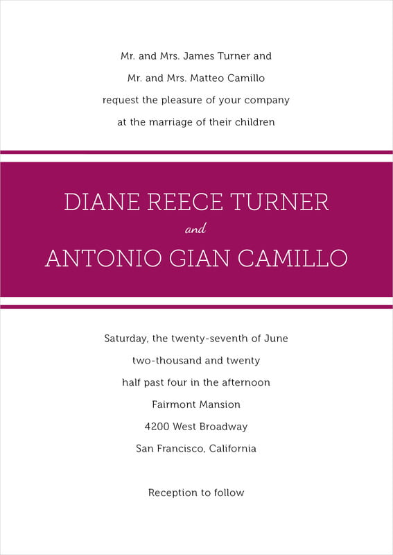 custom invitations - burgundy - modern museo (set of 10)