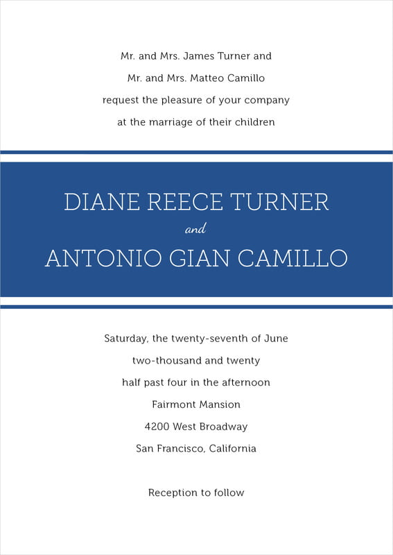 custom invitations - deep blue - modern museo (set of 10)