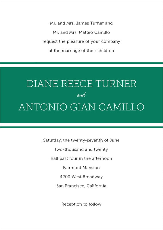 custom invitations - deep green - modern museo (set of 10)