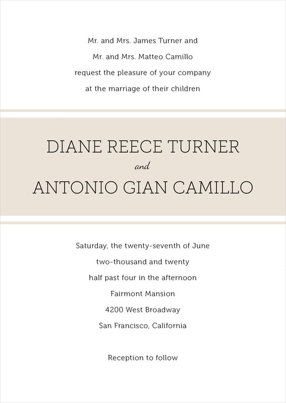 custom invitations - champagne - modern museo (set of 10)