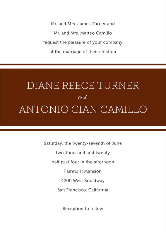custom invitations - chocolate - modern museo (set of 10)