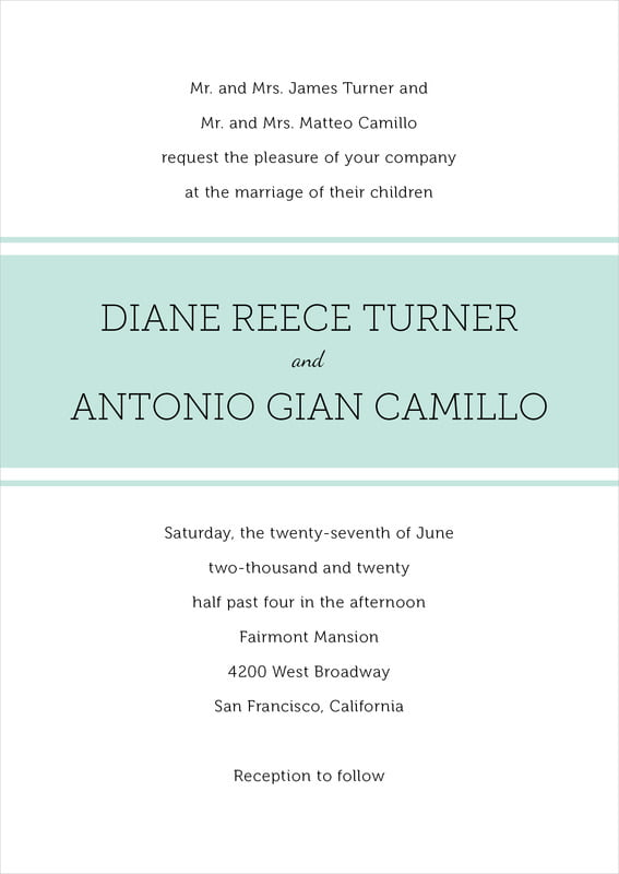 custom invitations - sea glass - modern museo (set of 10)