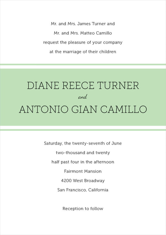 custom invitations - mint - modern museo (set of 10)