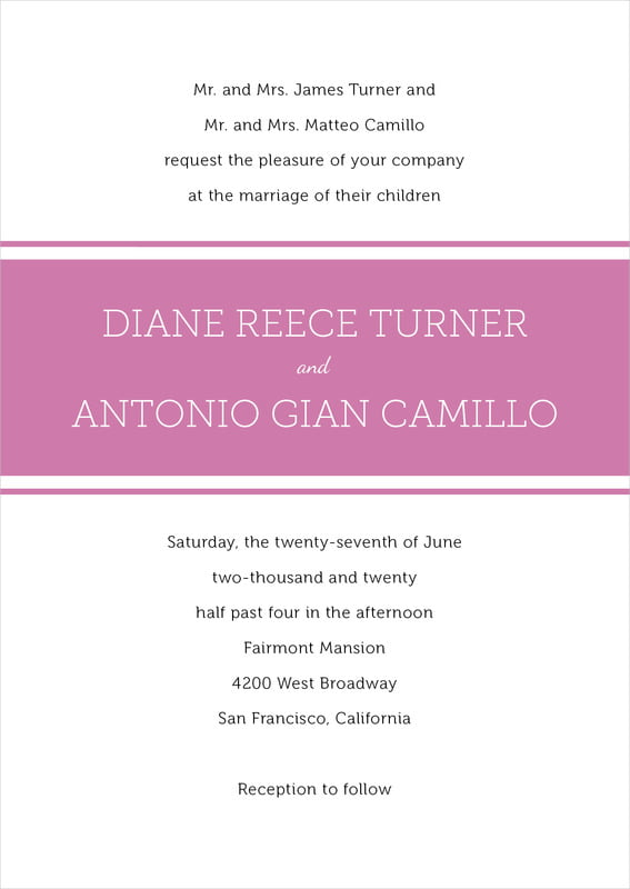 custom invitations - radiant orchid - modern museo (set of 10)