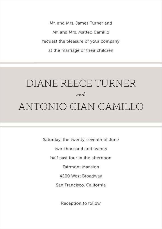 custom invitations - stone - modern museo (set of 10)