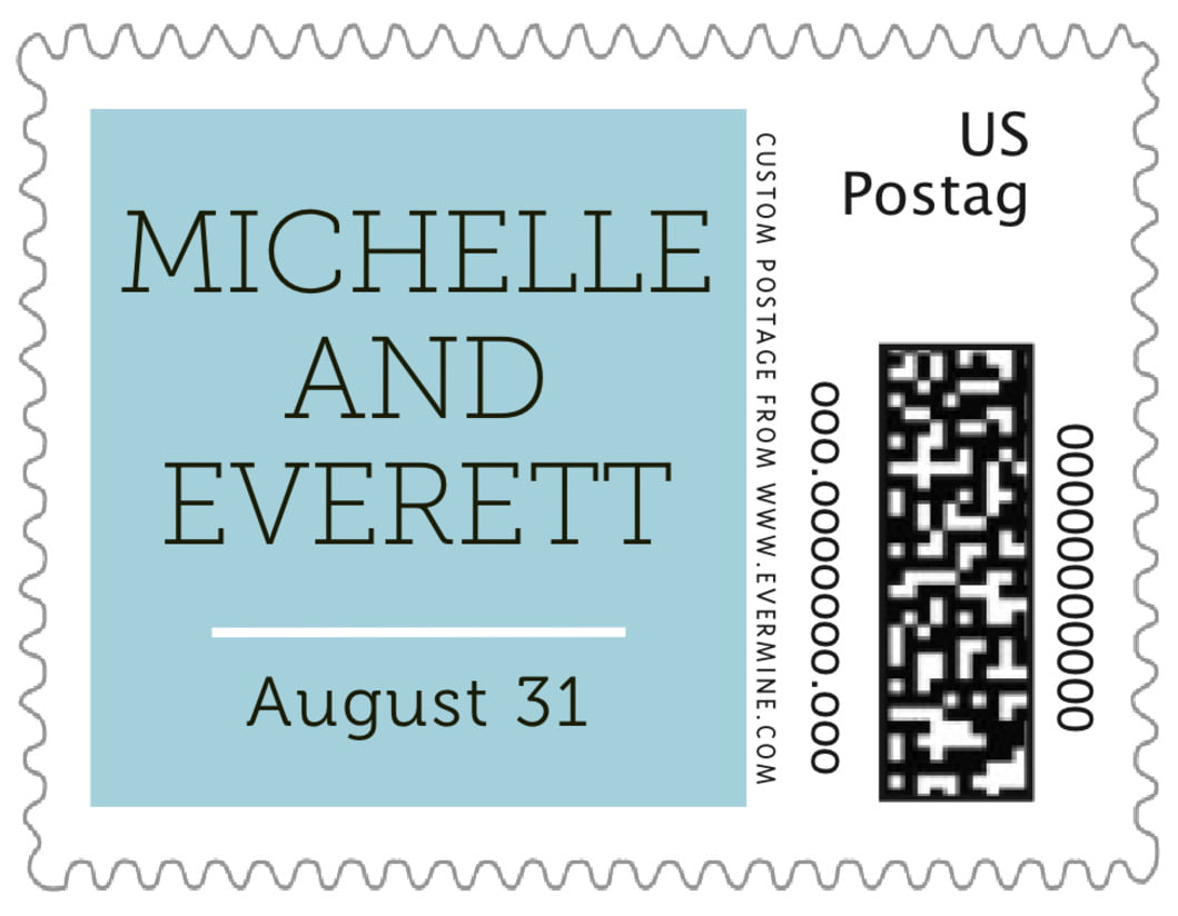 small custom postage stamps - blue mist - modern museo (set of 20)