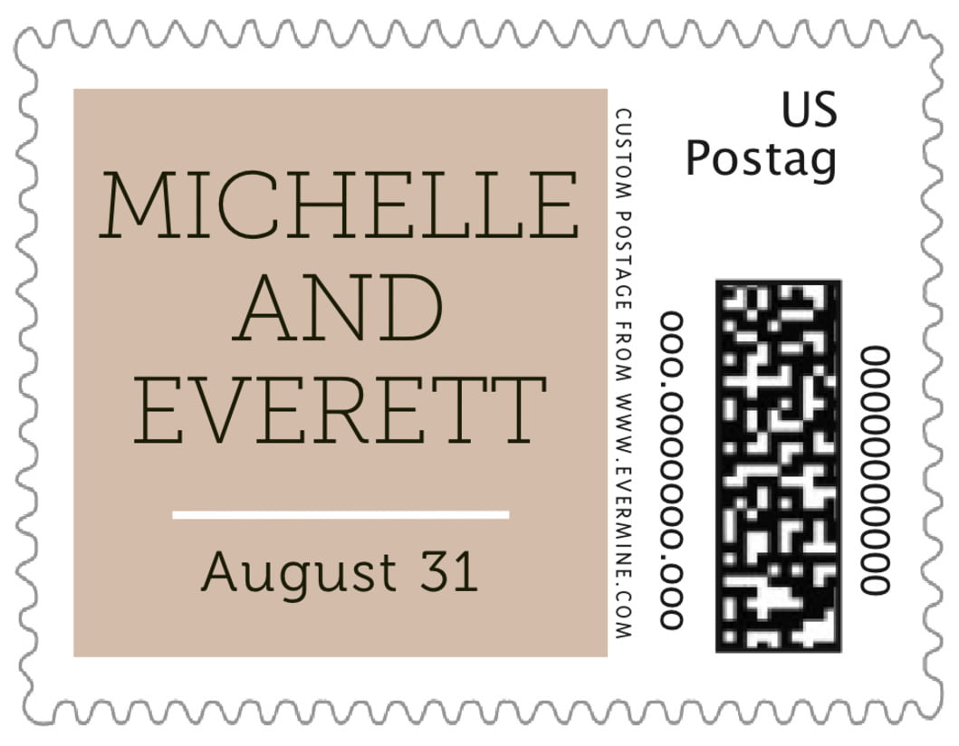 small custom postage stamps - mocha - modern museo (set of 20)