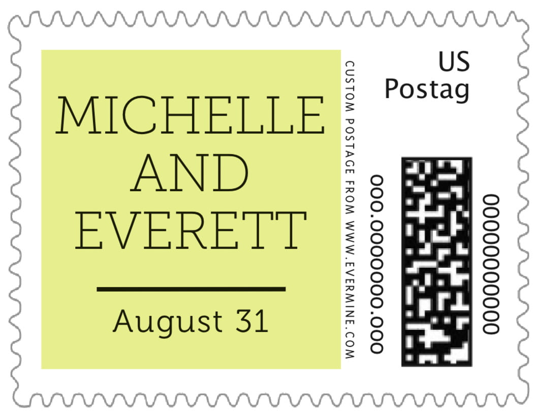 small custom postage stamps - chartreuse - modern museo (set of 20)