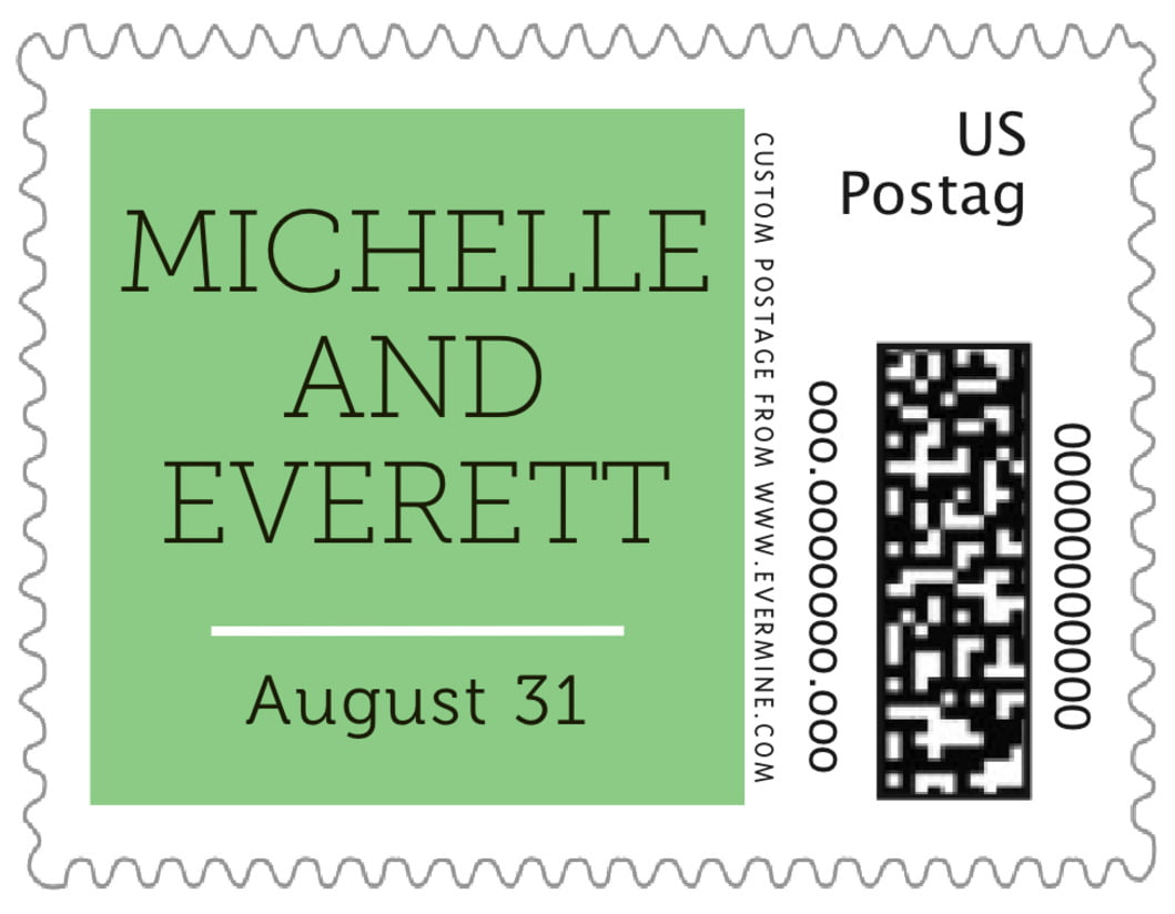 small custom postage stamps - light green - modern museo (set of 20)