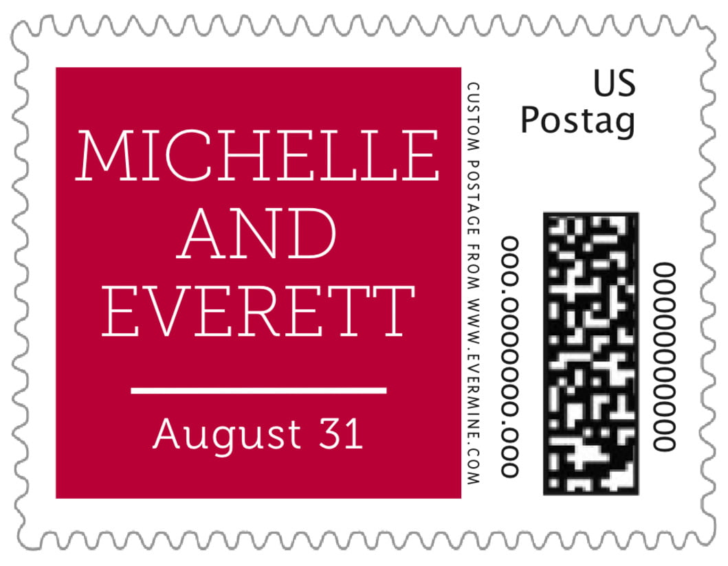 small custom postage stamps - deep red - modern museo (set of 20)