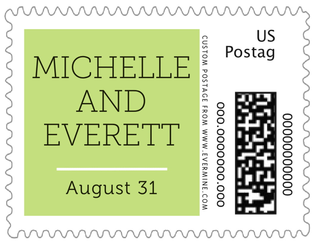 small custom postage stamps - lime - modern museo (set of 20)