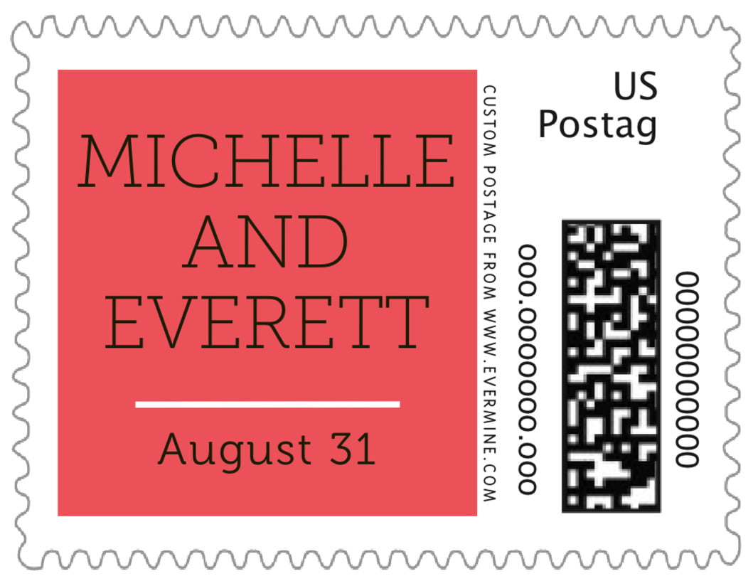 small custom postage stamps - deep coral - modern museo (set of 20)