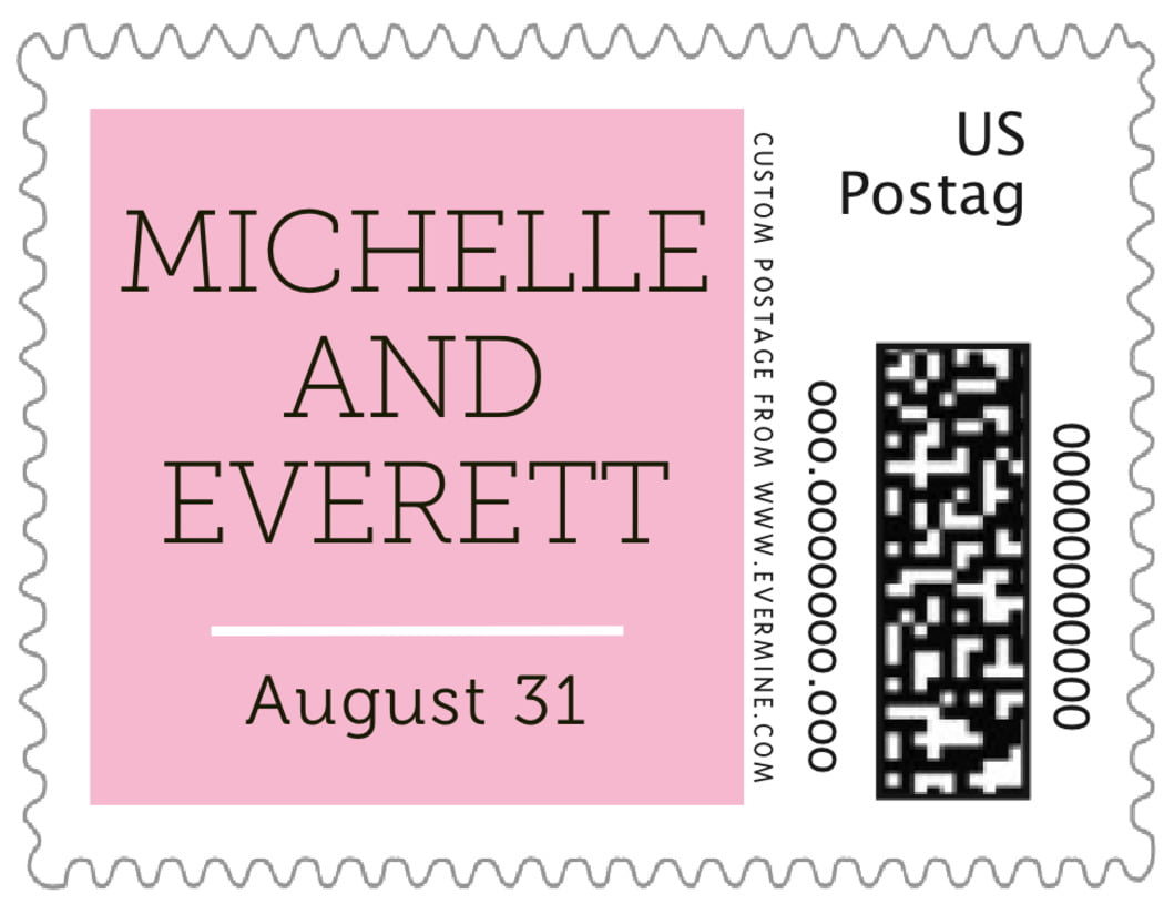 small custom postage stamps - pink - modern museo (set of 20)