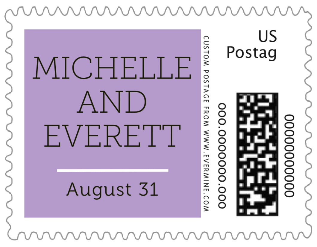 small custom postage stamps - lilac - modern museo (set of 20)