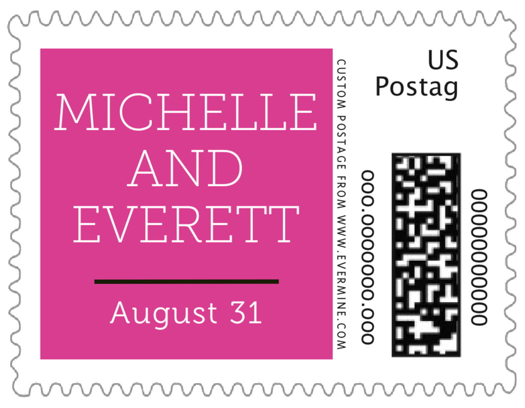 small custom postage stamps - bright pink - modern museo (set of 20)