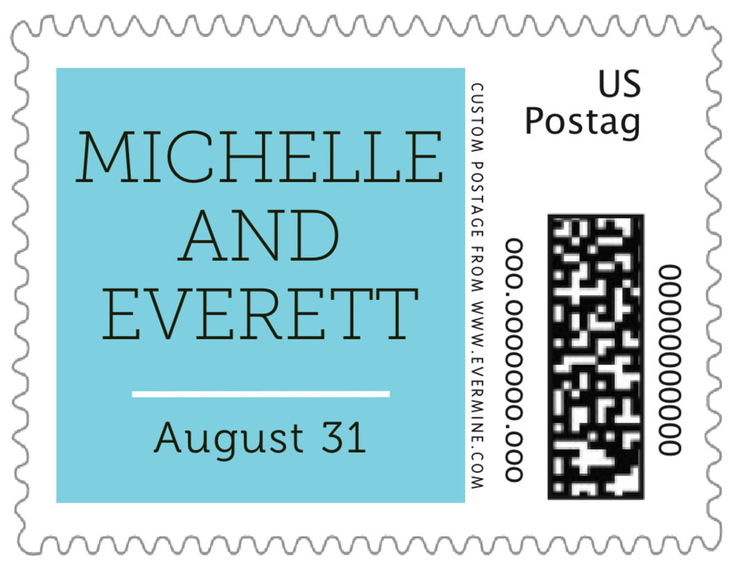 small custom postage stamps - bahama blue - modern museo (set of 20)