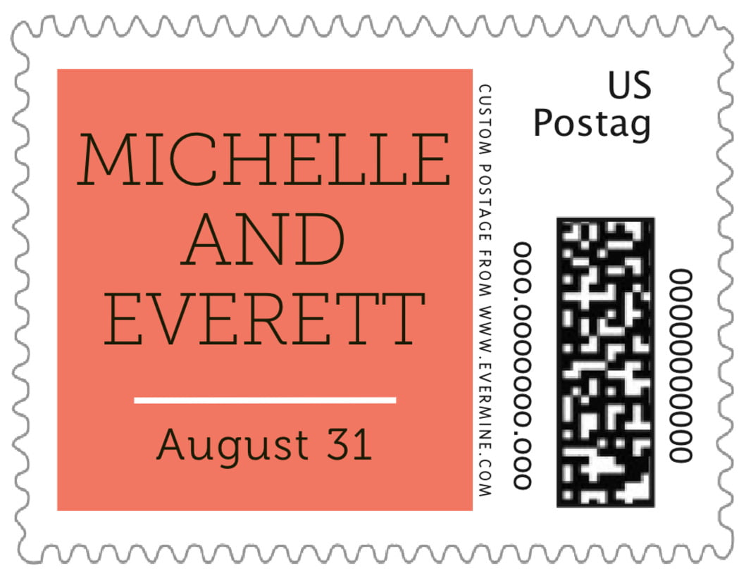 small custom postage stamps - coral - modern museo (set of 20)