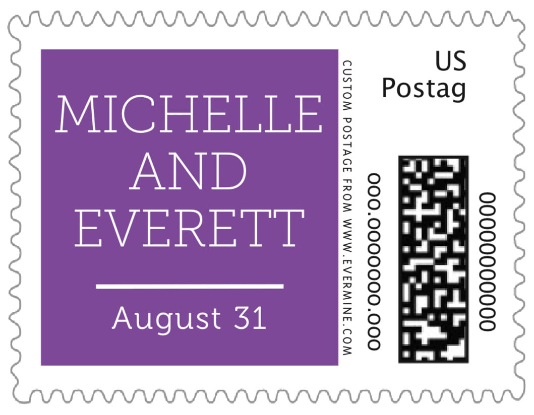 small custom postage stamps - plum - modern museo (set of 20)