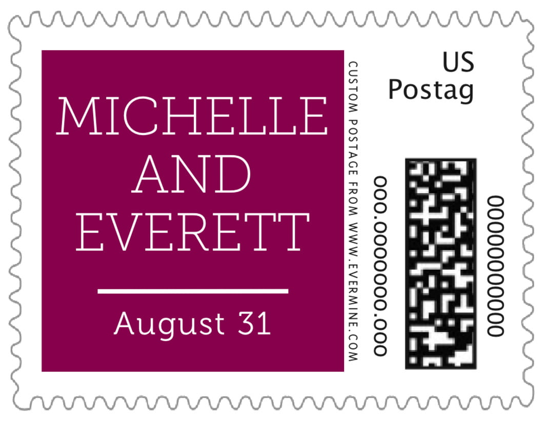small custom postage stamps - burgundy - modern museo (set of 20)