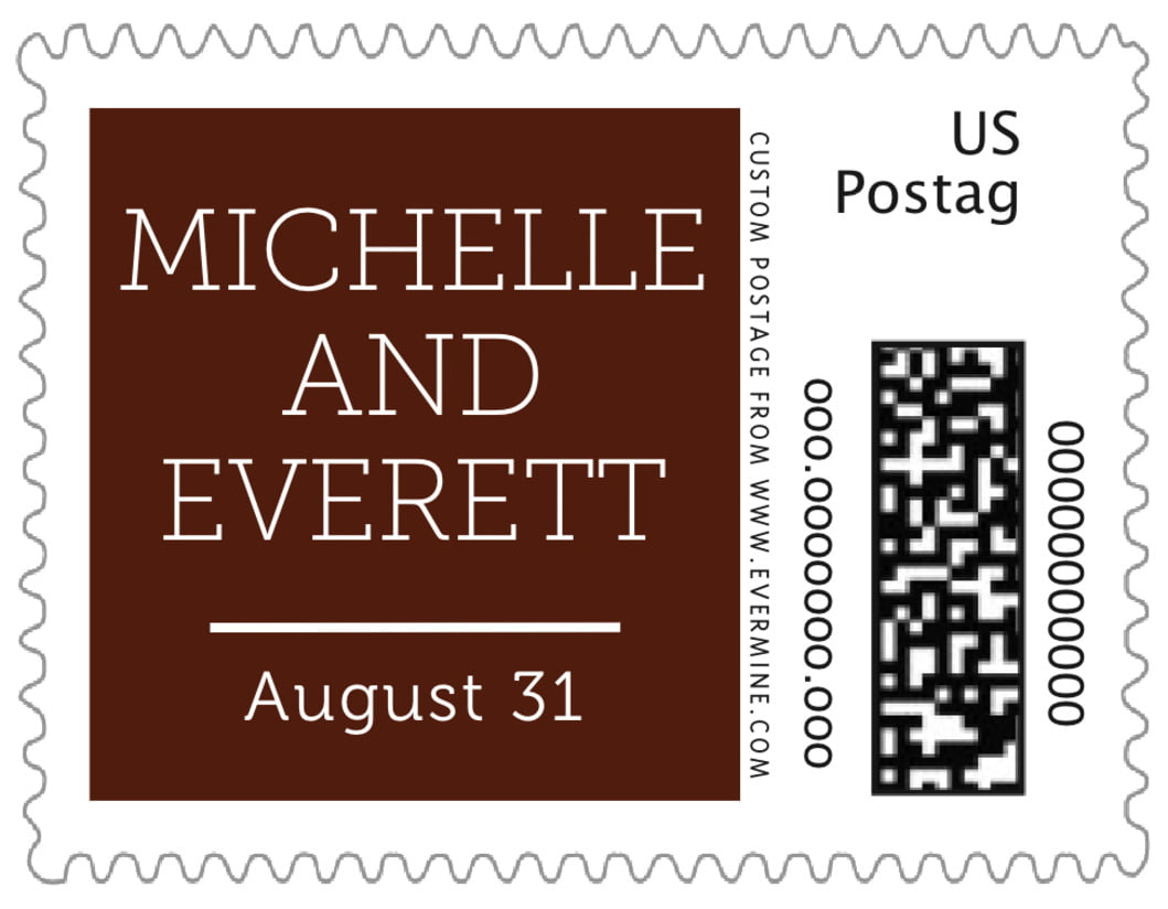 small custom postage stamps - chocolate - modern museo (set of 20)