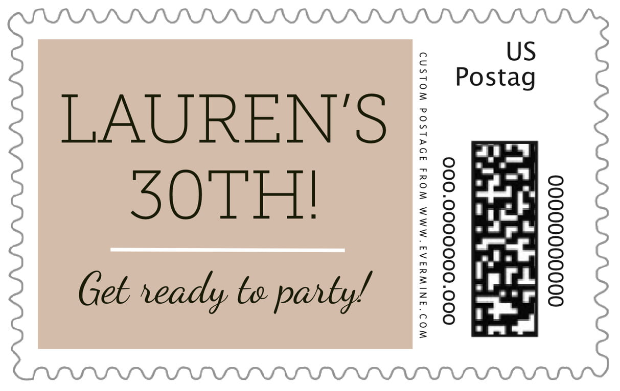custom large postage stamps - mocha - modern museo (set of 20)