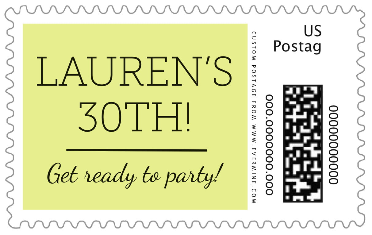 custom large postage stamps - chartreuse - modern museo (set of 20)