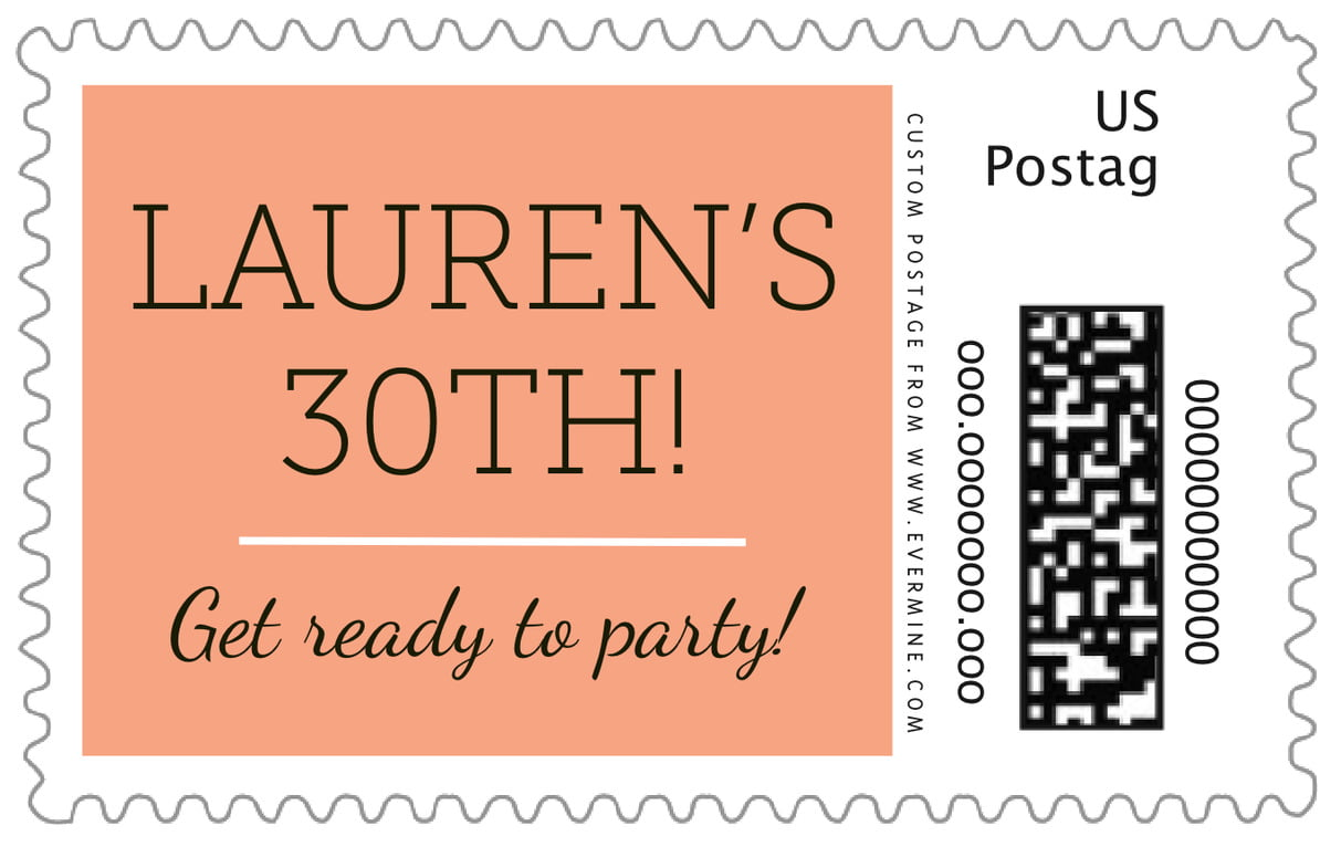 custom large postage stamps - peach - modern museo (set of 20)