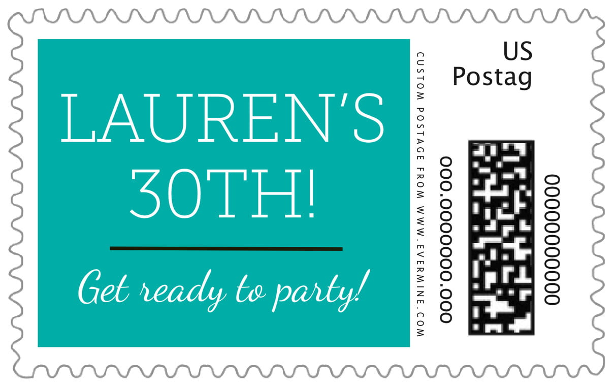 custom large postage stamps - turquoise - modern museo (set of 20)