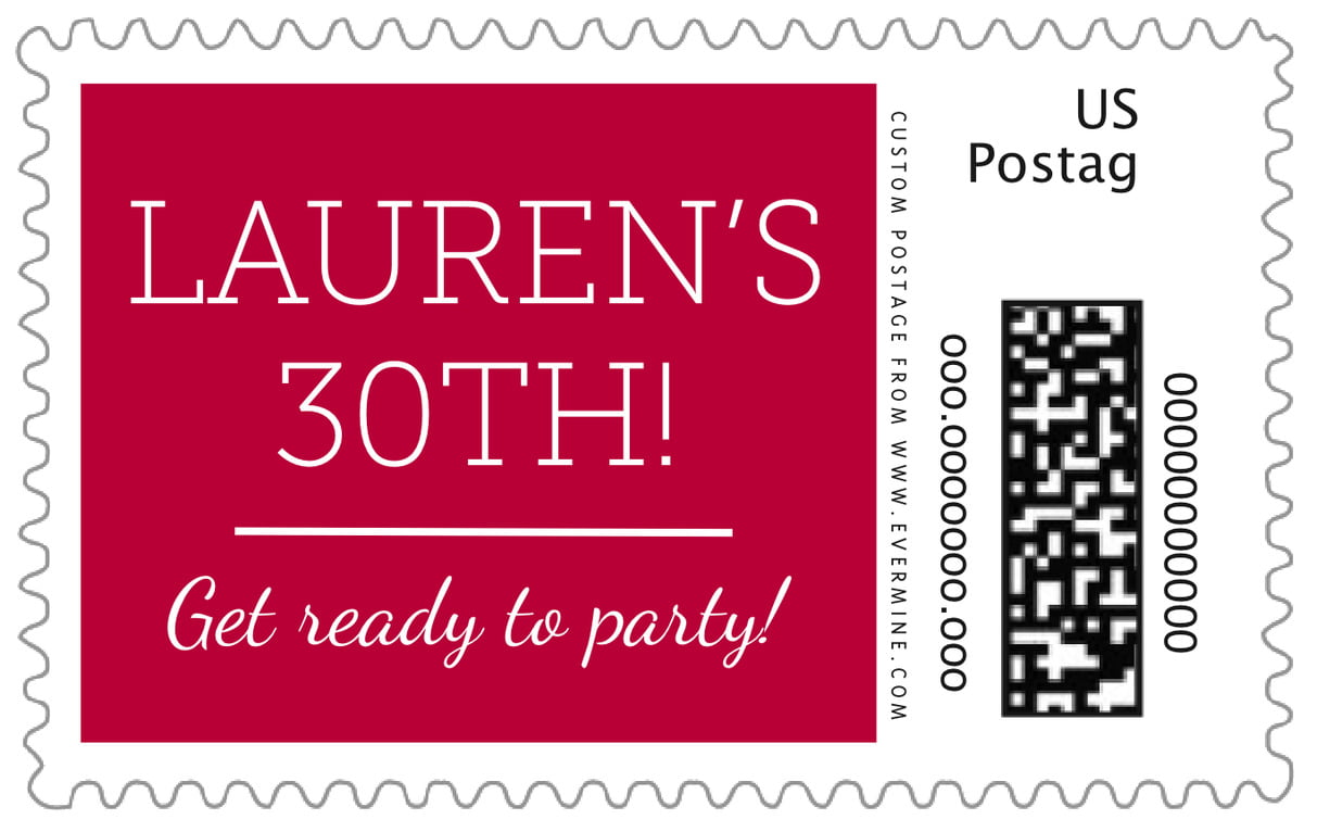custom large postage stamps - deep red - modern museo (set of 20)