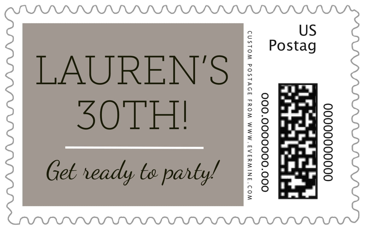 custom large postage stamps - warm grey - modern museo (set of 20)