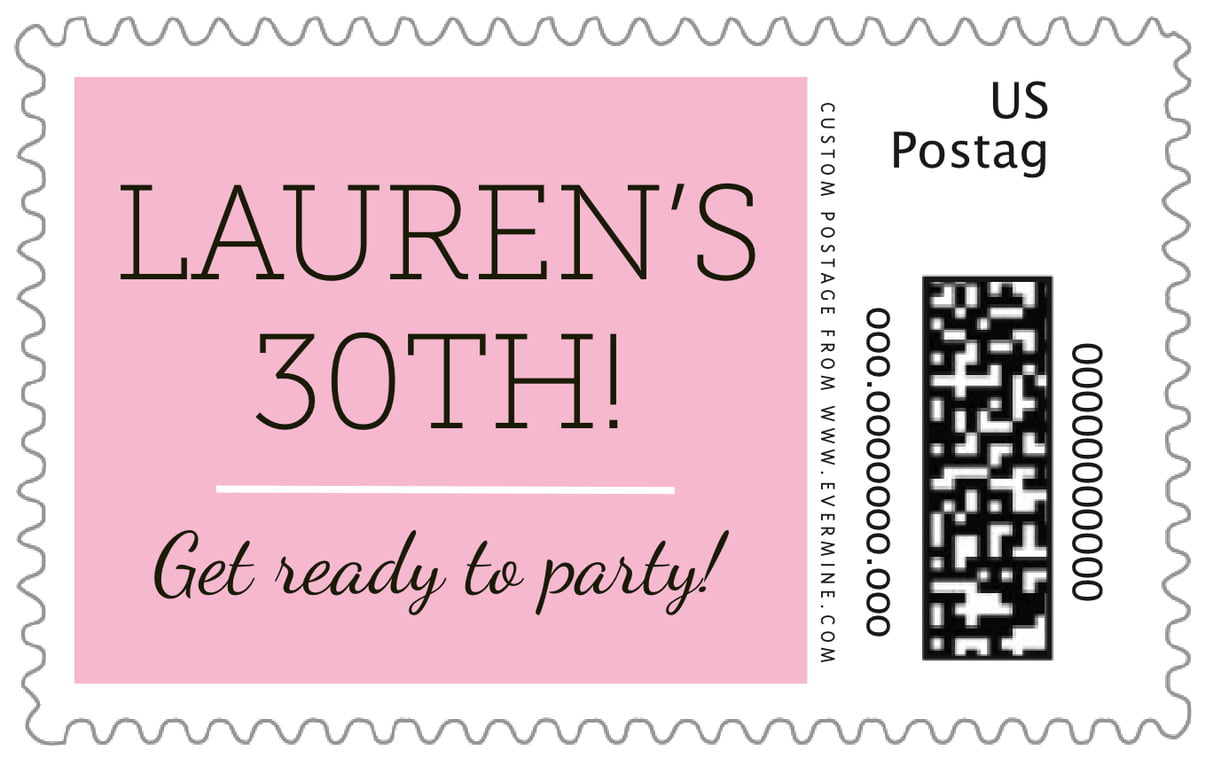custom large postage stamps - pink - modern museo (set of 20)