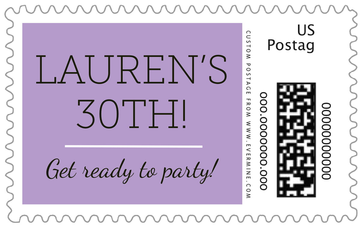 custom large postage stamps - lilac - modern museo (set of 20)