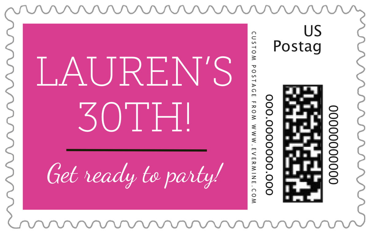 custom large postage stamps - bright pink - modern museo (set of 20)