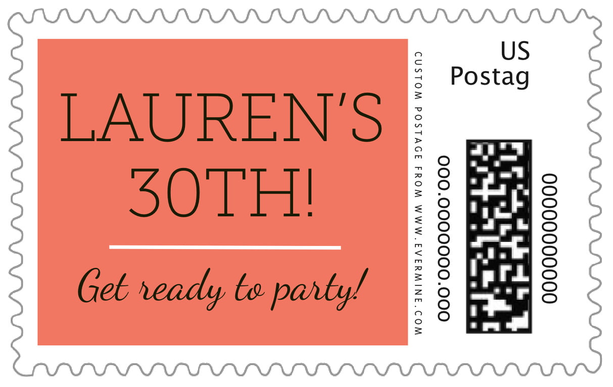 custom large postage stamps - coral - modern museo (set of 20)